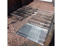 Silver dog crate medium size