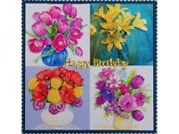 Pretty Handmade Floral Decoupage Birthday Card