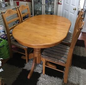 Solid Pine extending table and chairs