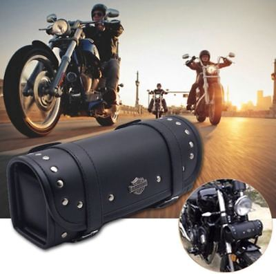 """Motorcycle 12"""" Front Fork Tool Bag Pouch Luggage SaddleBag Black Leather Harley for sale  Irving"""