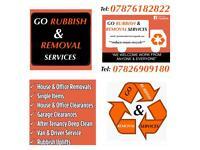 Go rubbish and removal services / van & driver / single items / junk/ skip alternative / deep clean