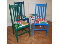 4 Colourful painted Kitchen / Dinning Chairs –cushioned, newly covered, solid wood = £40 per chair