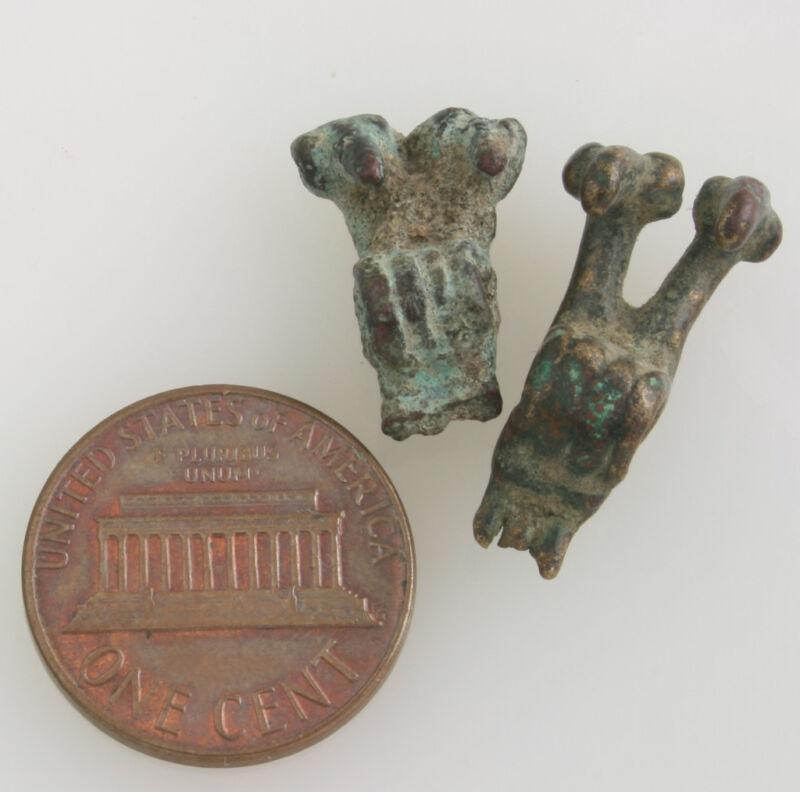 2 tiny antique bronze beads  Cameroon  Sao culture?