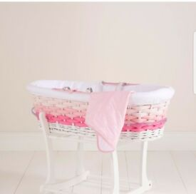 pink ombre moses basket. stand included