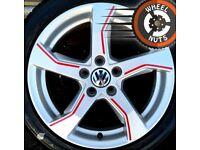 "17"" Genuine alloys VW Golf Caddy etc perf cond premium tyres."
