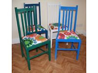 4 Kitchen Dining chairs (price reduced) solid wood, painted coloured, great condition, new foam pads