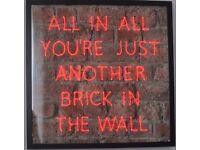 PINK FLOYD LYRICS RED NEON SIGN BRICK LIGHTING QUOTE WALL ART HANGING LIGHT MUSIC FRAME CUSTOM