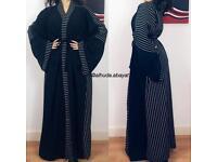 Abaya / Bisht modesty clothing black and white stripes