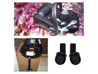 Cybex Aton Q Baby Car Seat - Black Beauty+isofix+adaptors for pushchairs