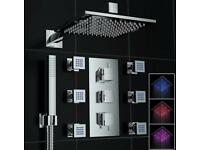 Concealed thermostatic mixer value with body jets LED