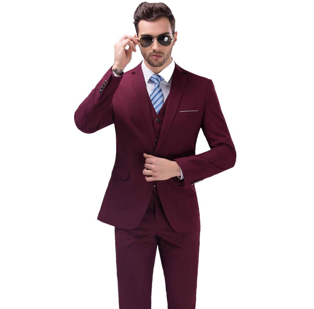 New Men\'s Wine Red Business Casual Suit Slim Wedding Suits Three ...