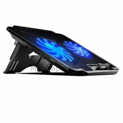 "Adjustable Notebook Laptop Cooling Pad 2 Fan Stand Cooler LED USB 15"""