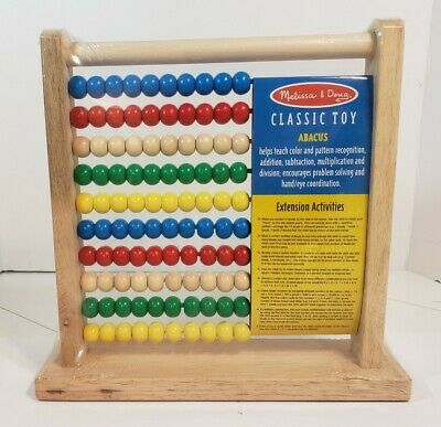 Melissa and Doug Abacus Classic Wooden Developmental Toy Bright Wooden Beads New