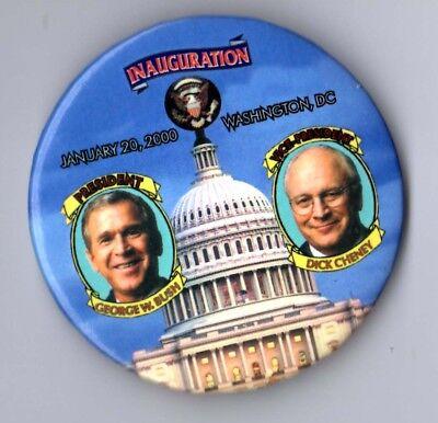 George W Bush 2001 Inaugural Political Campaign Button Pin  Large Misprint