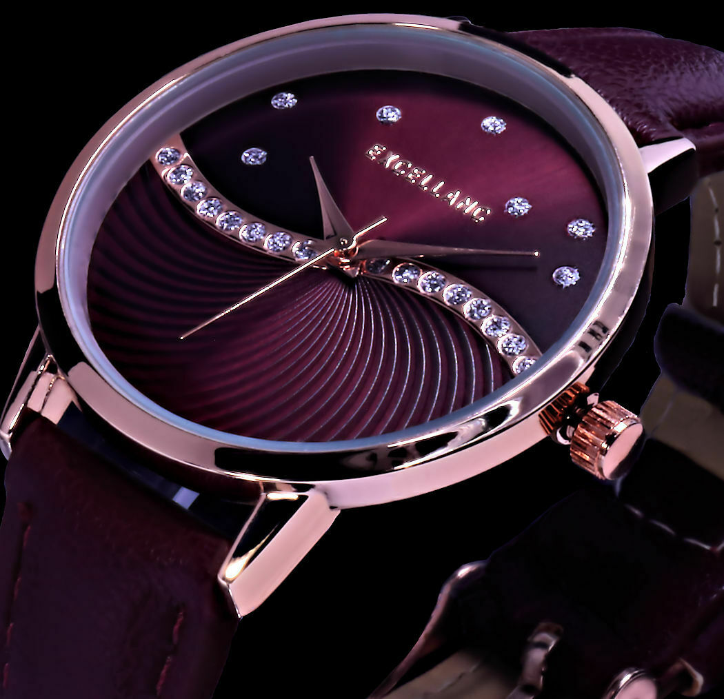 Excellanc Damen Armband Frauen Uhr Bordeaux Rot Rose Gold Farben Strass L40