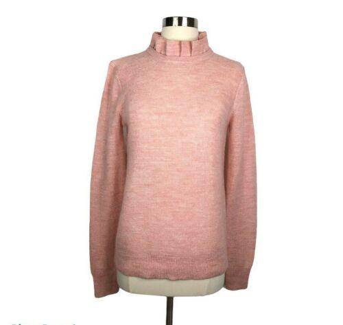 J. Crew Ruffle Neck Sweater Small Pink Alpaca Blend AT815