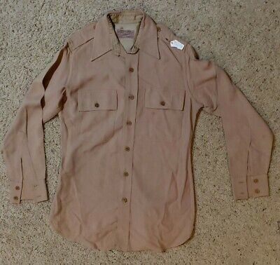 1940s Men's Shirts, Sweaters, Vests 1940s WW2 Vtg Mens Med. Officers Military Army Shirt Rare Tailored by Champion $100.00 AT vintagedancer.com