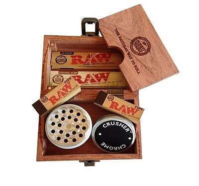 RAW Maple Rolling Stash Box + Organic King Paper + Metal Crusher Grinder + Tips