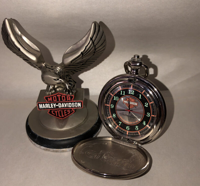 "Franklin Mint Harley Davidson Pocket Watch ""Heritage Softail"" NEW BATTERY"