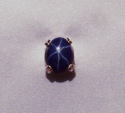 NEW 3 CT PLUS CREATED STAR SAPPHIRE MENS TIE TACK PIN SOLID STERLING SILVER
