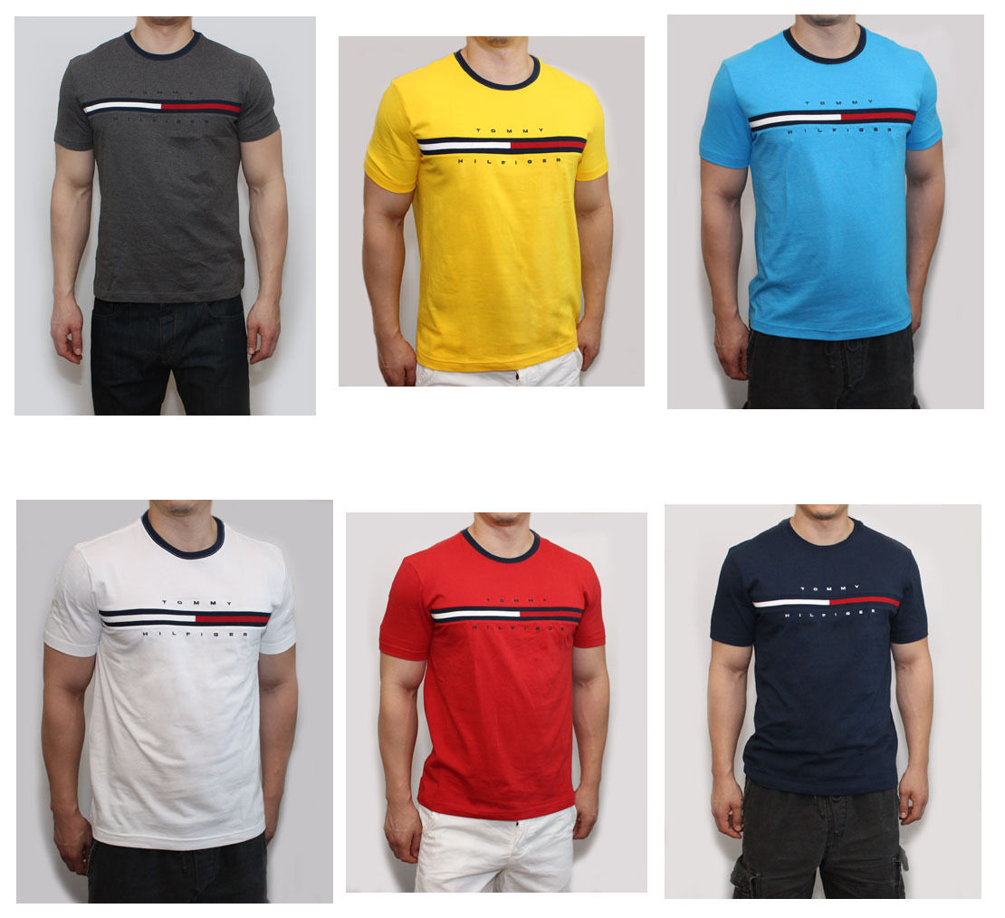 Купить Tommy Hilfiger - New Tommy Hilfiger Men Classic Fit Crew Neck Logo Tee Shirt T-Shirt