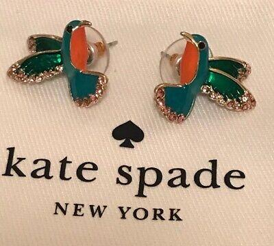 KATE SPADE scenic route hummingbird stud bird earrings with enamel glaze