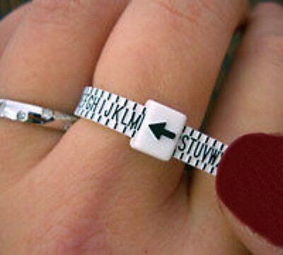 Ring Finger Sizer UK Sizes A-Z Plastic Measurer For Men and Women Reusable Gauge