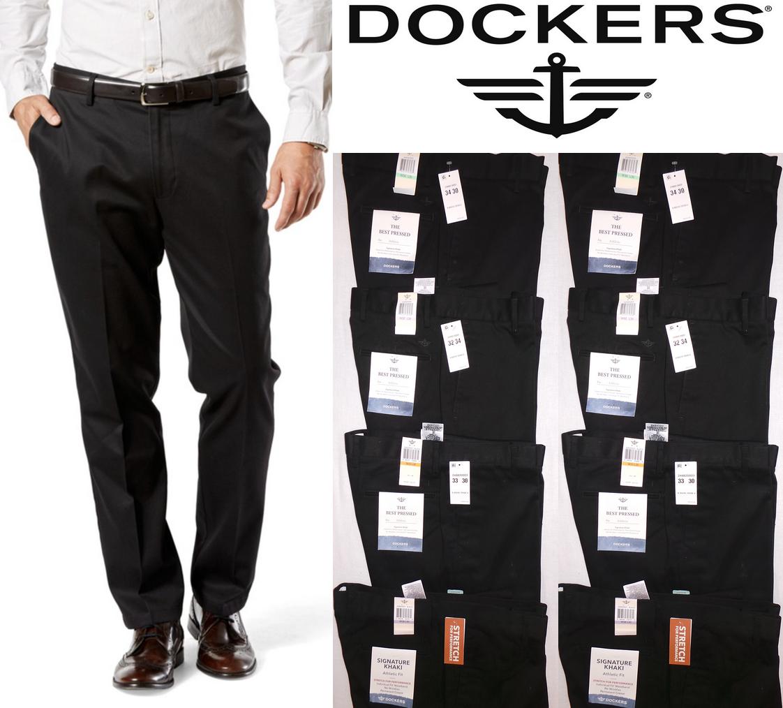 Dockers Men's Signature Khaki Athletic Fit Flat Front Black