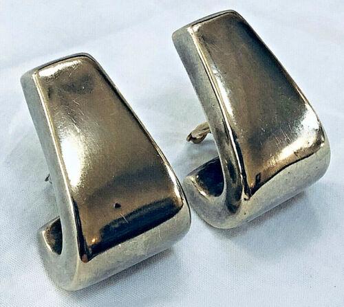 Vintage Modernist Large Sterling Silver Clip On Earrings 31 Gr. Signed SS