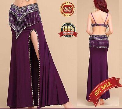 One side slit with Gold sequins trim Long Skirt Hip Skirt Belly Dance full skirt