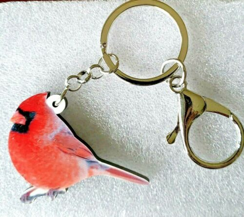 Cardinal Red Bird Realistic Looking Acrylic Key Ring Keychain Jewelry
