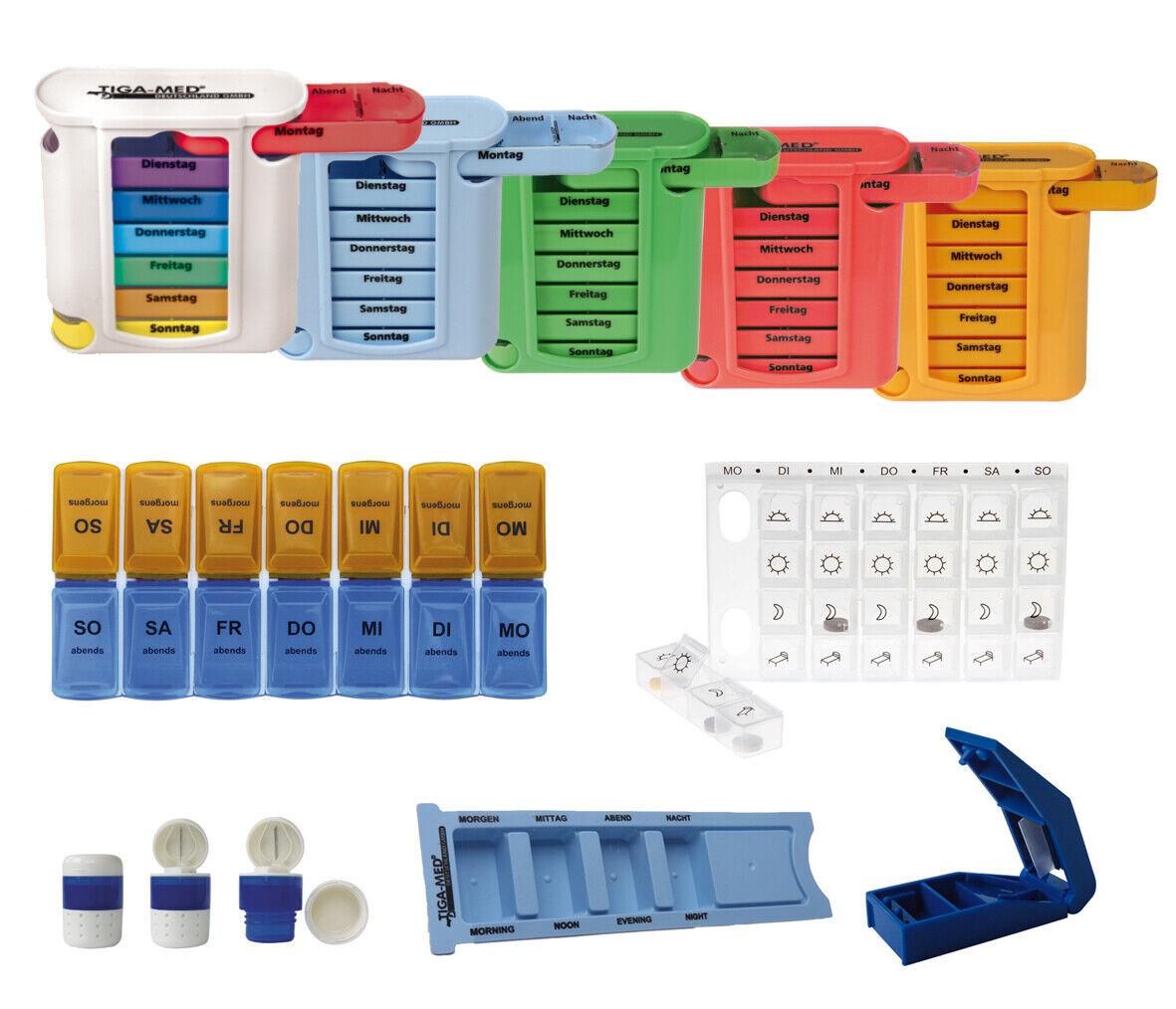 Medikamentendosierer Medi Spender Pillendose 7 Tage Tablettenschneider nach Wahl