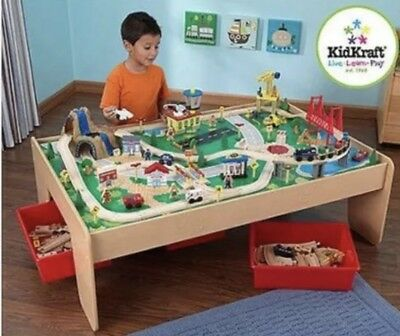 Train Table 120-Piece Wooden with 3 Bins and Waterfall Mountain Train Track (Kidkraft Wooden Waterfall Mountain Train Table And Set)