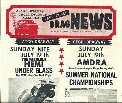 East Coast Drag News Paper July 10 1970 Atco & Cecil Dragway