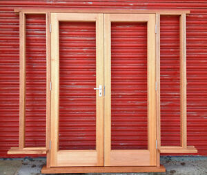 Wooden hardwood french doors with sidelights bespoke for Hardwood french doors