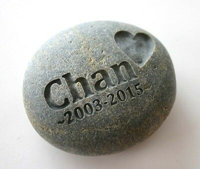 Pet Memorial Custom Engraved Memorial Stone Pet Loss Personalized Name Heart - CA$36.00