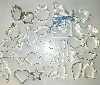 Metal Cookie Cutters Lot of 31 Vintage Animals Christmas halloween Cowboy Car...