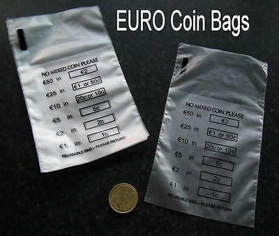 20 x Plastic Money / EURO Coin / Bank Bags - No Mixed Coins - New and Reusable