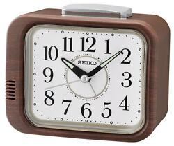Seiko Alarm Clock With Quiet Output Wood Look Braun QHK046Z