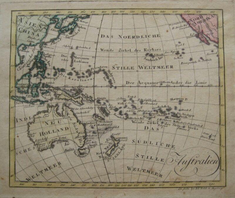 Original 1803 Map OCEANIA Australia Hawaii Pacific Islands Philippines Tasmania