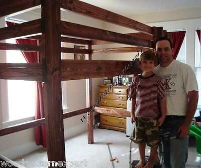 LOFT BUNK BED Paper Patterns BUILD KING QUEEN FULL AND TWIN SIZES Easy DIY -