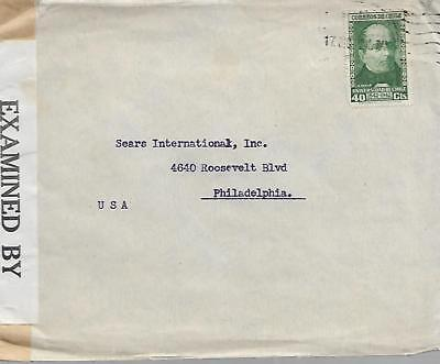 CHILE TYPED CENSORED 1940's COVER TO USA WITH 40c GREEN MY REF 813