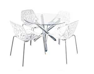 Orion Forest 5 pcs Dining set Chromed frame round glass top Punchbowl Canterbury Area Preview