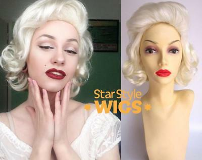 DELUXE MARILYN MONROE WHITE BLONDE CURLY COSTUME WIG 1950's PIN - 1950 Wigs