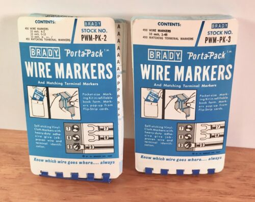 Vintage NOS Brady Porta-Pack Wire Marker Books PWM-PK-2 & PWM-PK-3