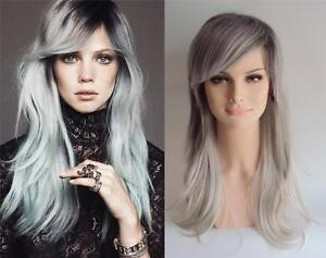 DELUXE LONG GREY SILVER OMBRE HEAT RESISTANT CELEBRITY FASHION  WIG