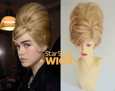DELUXE BLONDE SHORT BEEHIVE 1960's MOD BOUFFANT FASHION COSTUME WIG DRAG