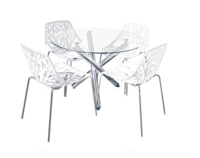 Orion Forest 5 pcs Dining set Chromed frame round glass top