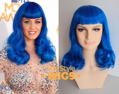 DELUXE KATY PERRY CALIFORNIA GIRLS BLUE LONG CURLY FASHION COSTUME WIG - Katy Perry California Girls Costume