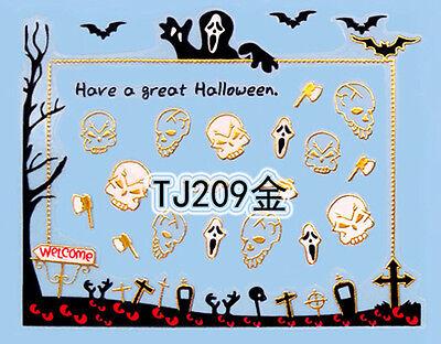 Halloween GOLD Bats Eyes Scream Skull Grave Axe 3D Nail Art Sticker Decals